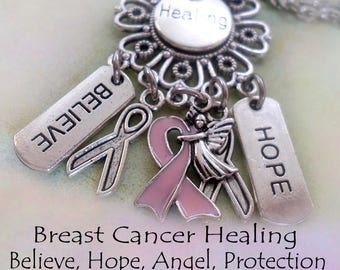 Breast Cancer Healing Necklace w-Letter Charm Breast Cancer Awareness, Healing Hope Believe, Pink Ribbon, Angel Charm, Never Give Up