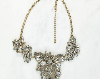 Lilibeth Antique Gold Gem Glamour Necklace
