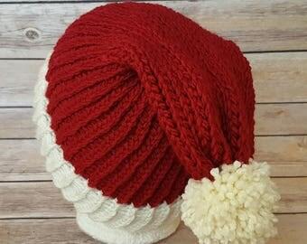Santa Hat, Santa Beanie Hat, Winter Hat, Christmas Hat, Christmas Beanie Hat, Slouchy Santa Hat, Knitted Santa Hat, Knit Santa Hat