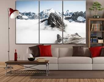 Large Wall Mountain Canvas Color Mountain and Snow  Multipanel Canvas Landscape Art Large Sky&Snow 1-3-4-5 Panel Canvas