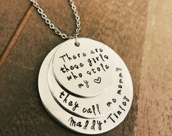 Girls Who Stole My Heart Call Me Mommy Necklace - Gift For Her - Hand Stamped Jewelry - Personalized Mommy Gift