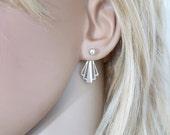 Geometric earrings sterling silver, ear jacket earrings, art deco earrings