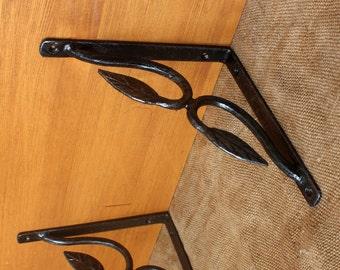Hand forged shelf brackets, supports, shelf, book shelf, wrought Iron, shelf supply