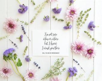 Will You Be My Bridesmaid, Ask Bridesmaid, Boho Bridesmaid Card, Wedding Card Proposal, gift bridesmaid, Wedding Invitation Template, PDF