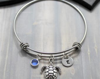 Sea Turtle Bangle Bracelet - Hawaiian Turtle - Silver Turtle - Turtle Jewelry - Personalized Bangle - Turtle Themed Gift