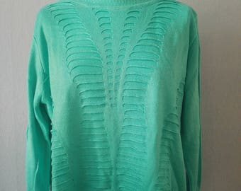 90s sweater true vintage knitted sweater L turquoise lace pattern round neck oversize summer spring Vaporwave hipster bloggers