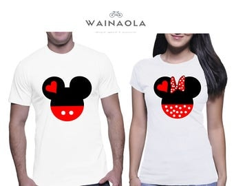 Wainaola Mickey and Minnie Head Couple Matching Tshirts, Matching Couple Tshirts, Disney Shirts, Mickey Minnie Disney Couple Shirts