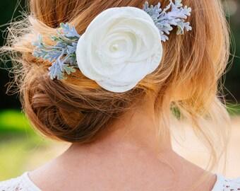 Pearl Flower Leaf Barrette, Rustic Wedding Hair, Wedding Hair Accessories, Flower Barrette, Pearl hair barrette, Bridesmaid Gift, Bridesmaid