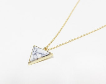 Marble Triangle Necklace, White Triangle Necklace, White Stone Necklace, White Marble Triangle Necklace, Gift for her, Charm Necklace
