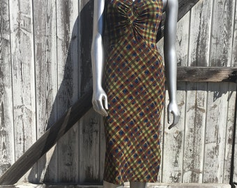 Women's Vintage Brown and Green Check Plaid Slip on Dress Size S/M