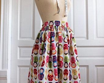 Plus Size Retro Russian Nesting Doll Matryoshka Dirndl Skirt Gathered 50s Rockabilly Pin Up Skirt | Stacking Doll Ukraine matreshka Babushka