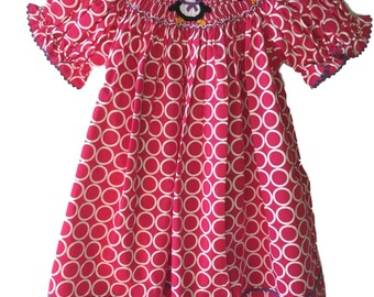 Winter Sale! Penguin Smocked Dress - Pink and White Handmade Smocked Bishop Dress