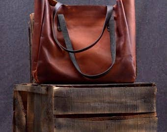 Leather Tote Bag - Large CarryAll - Shopping Bag - Leather Handbag - Handcrafted bag - Soft Lightweight Leather Bag - Macbook Leather Bag