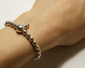 Silver hand Mala 27 beads, meditation mala, Buddha Beads 6 mm, Buddhist hand mala, buddhist braclet