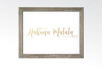 Hakuna Matata Sign - No Worries or Problems Rose Gold Copper Wall Decor Surfer - Printable Digital Art - Instant Download Multiple Sizes