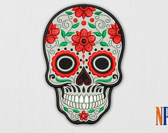 Calavera Skull machine embroidery design. Day of the dead embroidery. Sugar Skull Embroidery. Dia de los muertos. Embroidery file