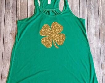 Ladies Shamrock Shirt, St Patty's Day Glitter Tank, St Patrick's Day Shamrock Shirt