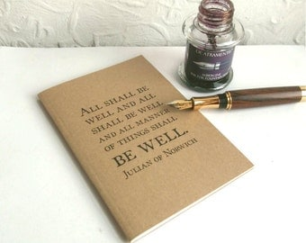 All Shall Be Well Grid Page Bullet Journal | Quotation Typography Notebook | Dotted Grid or Graph Paper Pages | Recycled A6 Kraft Field Note