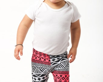 Baby Girl Leggings Super Soft and Stretchy Black White Pink Abstract Design Multiple Sizes Elastic Waistband
