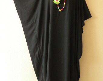 Black Solid Batik Plus Size Caftan Beachwear Batwing Maxi Dress - 2X, 3X, 4X & 5X