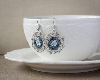 Bohemian earrings - Blue silver earrings - Boho earrings - Bohemian jewelry - Glass earrings - Glass earrings - Ornament earrings