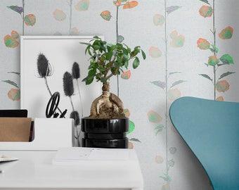 Modern Wallpaper, Scandinavian Mural, Modern Adhesive Wall Paper, Scandinavian Floral Wallpaper, Self Adhesive Wall Mural
