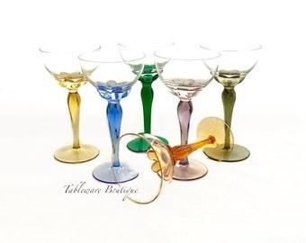 MULTICOLORED GLASS STEMWARE, Set of (6) Hand Blown Wine Glasses, Vintage Barware