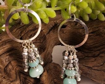 Aqua Stone Bead Drop Earrings, Silver Earrings