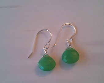 Sterling Silver Green Chalcedony Earrings