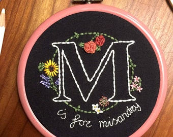M is for Misandry embroidery