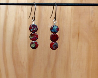 Petite Red Circle Earrings