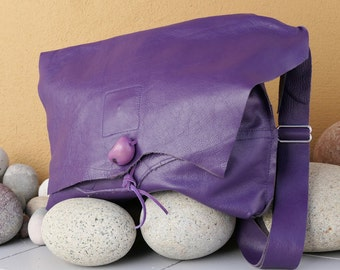 Purple Leather Handbag - Handmade Purse