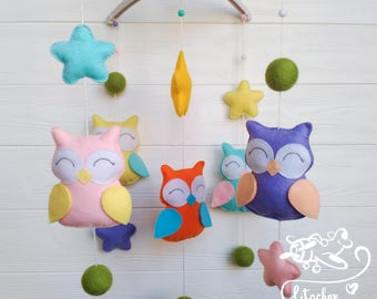 baby mobile woodland mobile  forest animal mobile nursery decor Cot mobile  Owls Music Mobile Felt baby mobile Crib decor  Baby decor