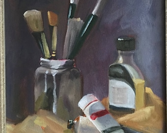"Original oil on canvas, titled ""Tools"". Size is 11x14."