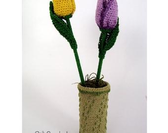 Crochet Tulips in Vase