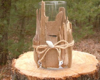 Driftwood candle holder,  or Driftwood vase, Lake Huron driftwood and shells on a glass vase,