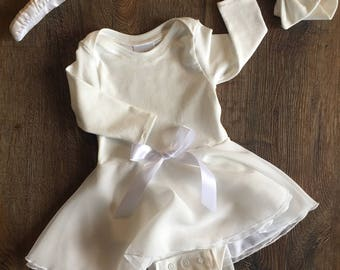 Baptismal Bodysuit Dress & Bow Headband - Christening Dress - Baptism - Newborn to 12/18 months - 64 color/print options!!!