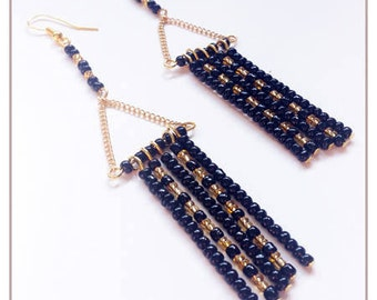 """Inspiration Collection"" black and gold earrings"