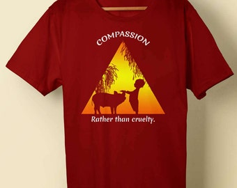 Compassion Shirt, Animal Rights Shirt, Animal Lover, Gift for Vegan, Pig and Boy shirt, Vegan Clothing, Compassion Rather Than Cruelty shirt