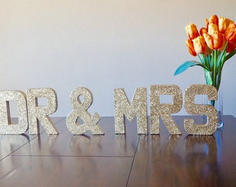 dr mrs decor stand up letters engagement photos double sided glitter letter sweetheart table decor ships in 3 5 business days