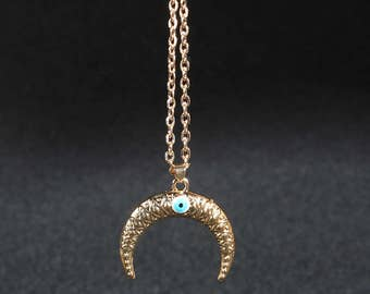 14K Gold filled horn necklace evil eye jewelry
