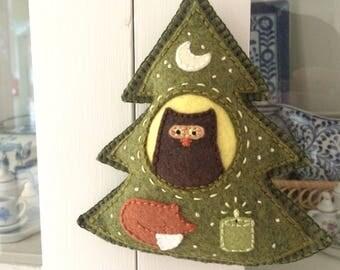 Hand Embroidered Owl and Sleepy Fox Felt Tree Charm
