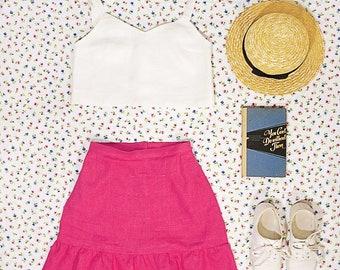linen ruffle skirt, high waist skirt with ruffled hem, hot pink flax skirt, flared hem skirt, cute fit&flare skirt, natural linen clothing