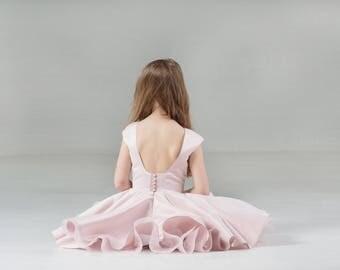 Backless Dress Party Girl Dress, Flowergirl Dress, Birthday Girl Dress, Girl Outfit