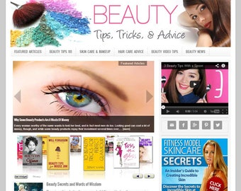 Premade WordPress Website Template & Blog, Website Design with Articles, Videos, Shopping, News, and Auto Updating Content- BEAUTY niche