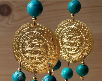 Turquoise and gold Oriental hanging earrings