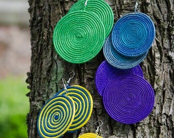 Round Sisal Tree Earrings - Handmade in Zambia, Africa