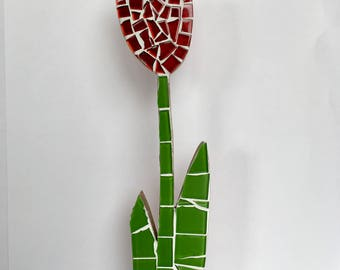 Red Tulip, Mosaic, Decoration