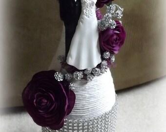 Bride and Groom wine bottle decor