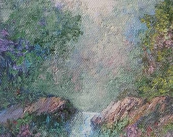 Landscape, The creek, Fine Art Giclee, FINE ART PRINT,  print with artist brushwork in oils